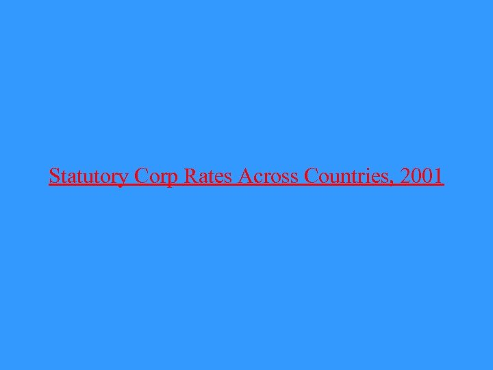 Statutory Corp Rates Across Countries, 2001