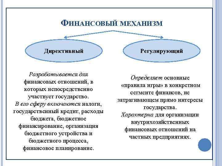 ФИНАНСОВЫЙ МЕХАНИЗМ Директивный Разрабатывается для финансовых отношений, в которых непосредственно участвует государство. В его