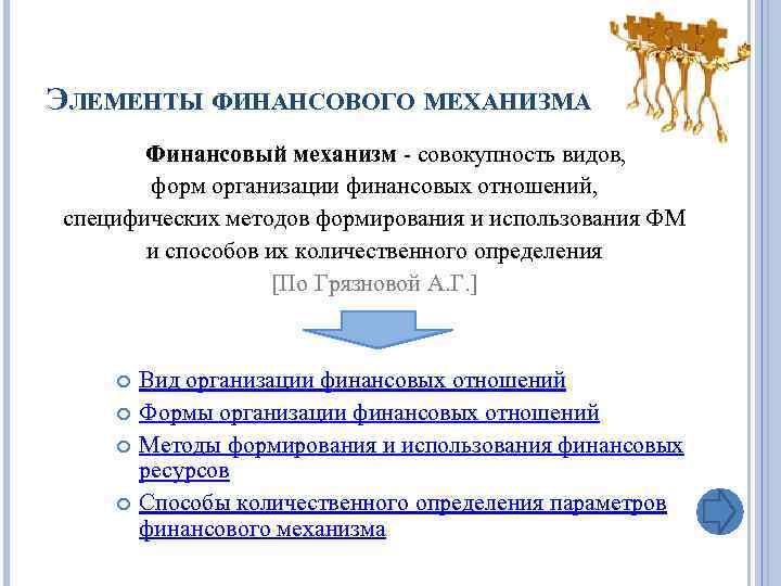 ЭЛЕМЕНТЫ ФИНАНСОВОГО МЕХАНИЗМА Финансовый механизм - совокупность видов, форм организации финансовых отношений, специфических методов