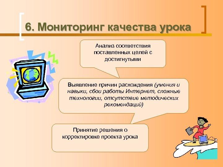 6. Мониторинг качества урока Анализ соответствия поставленных целей с достигнутыми Выявление причин расхождения (умения