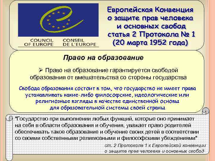 Право на образование Ø Право на образование гарантируется свободой образования от вмешательства со стороны