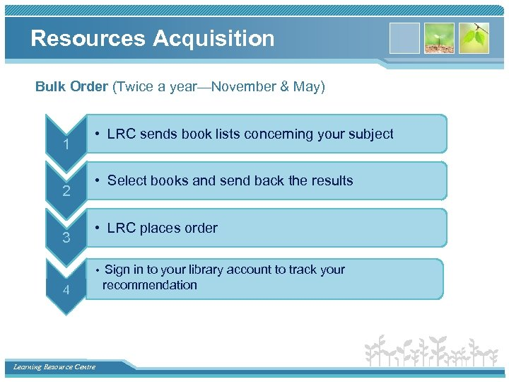 Resources Acquisition Bulk Order (Twice a year—November & May) 1 2 3 • LRC
