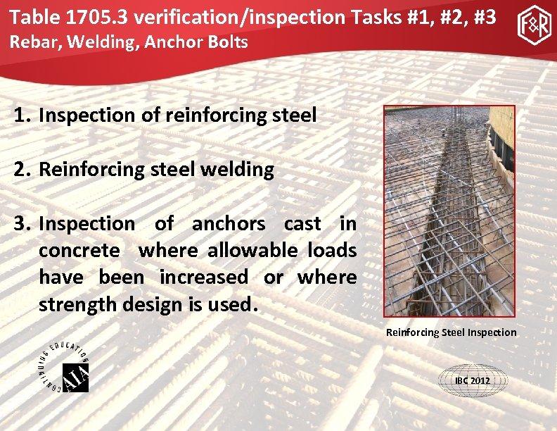 Table 1705. 3 verification/inspection Tasks #1, #2, #3 Rebar, Welding, Anchor Bolts 1. Inspection