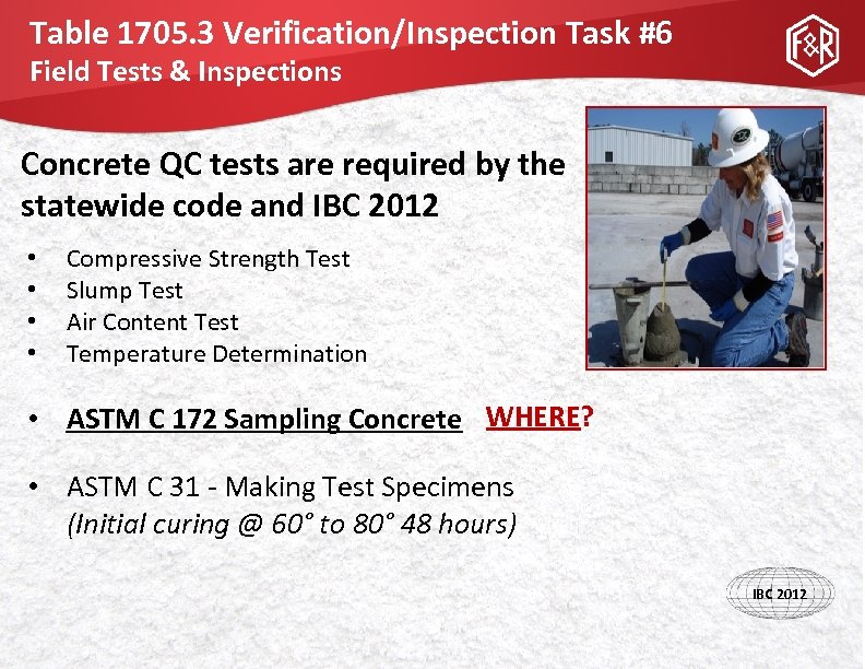 Table 1705. 3 Verification/Inspection Task #6 Field Tests & Inspections Concrete QC tests are