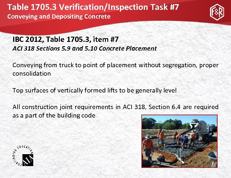 Table 1705. 3 Verification/Inspection Task #7 Conveying and Depositing Concrete IBC 2012, Table 1705.