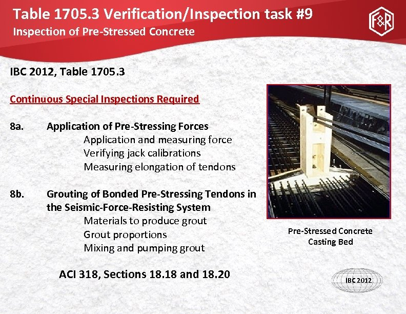 Table 1705. 3 Verification/Inspection task #9 Inspection of Pre-Stressed Concrete IBC 2012, Table 1705.
