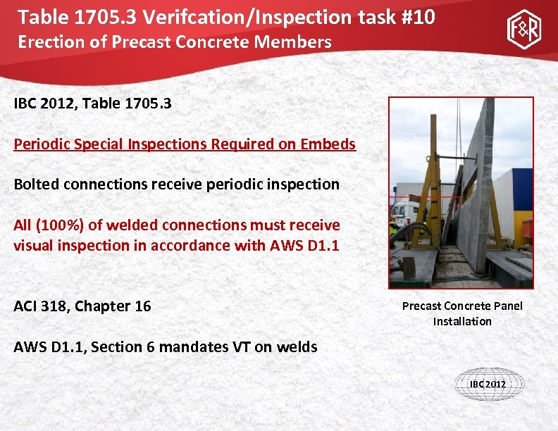 Table 1705. 3 Verifcation/Inspection task #10 Erection of Precast Concrete Members IBC 2012, Table