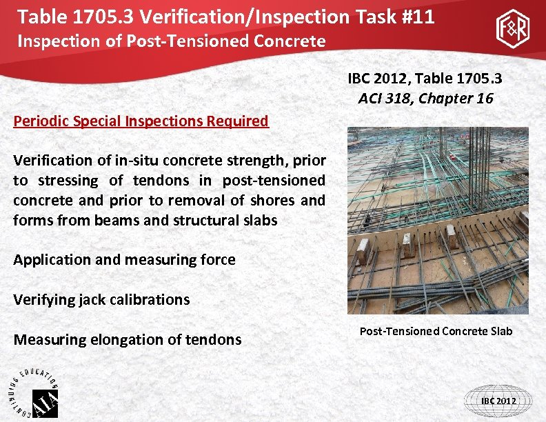 Table 1705. 3 Verification/Inspection Task #11 Inspection of Post-Tensioned Concrete IBC 2012, Table 1705.