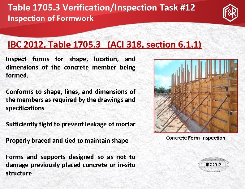 Table 1705. 3 Verification/Inspection Task #12 Inspection of Formwork IBC 2012, Table 1705. 3