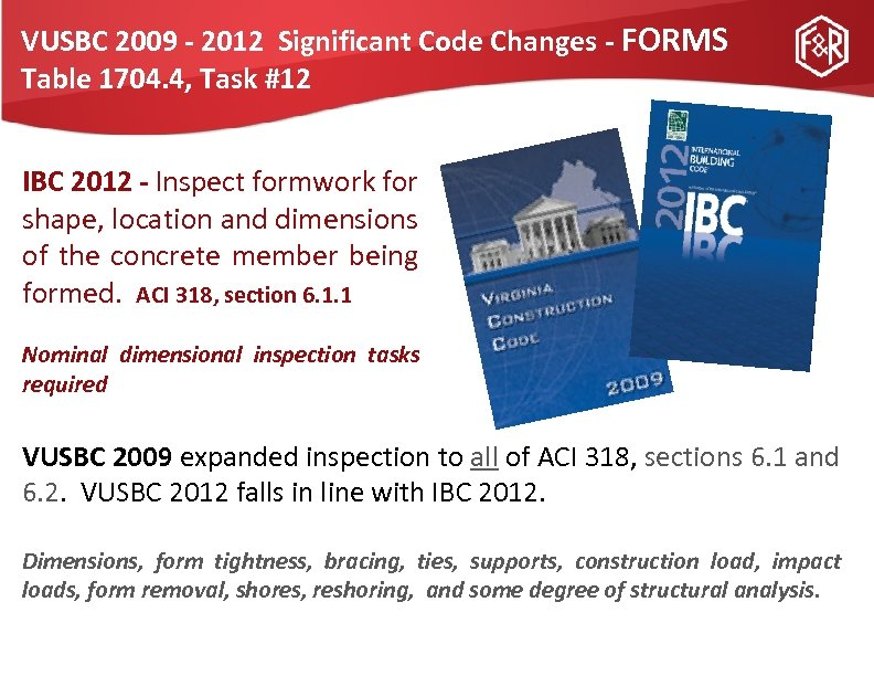 VUSBC 2009 - 2012 Significant Code Changes - FORMS Table 1704. 4, Task #12