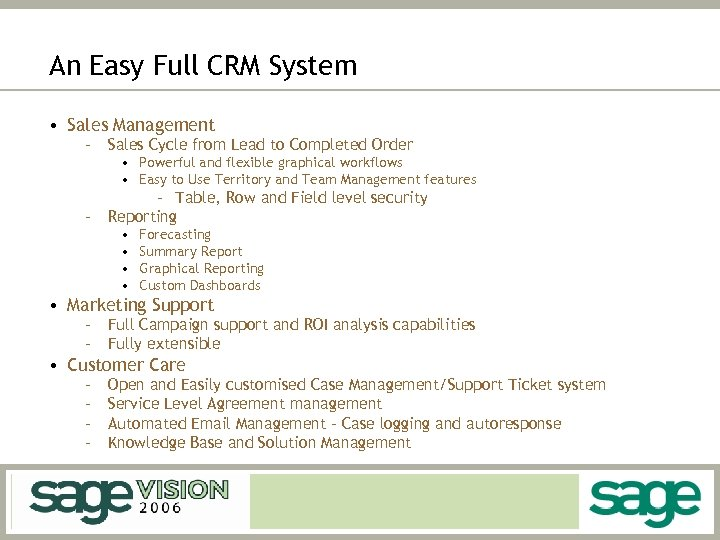 An Easy Full CRM System • Sales Management – Sales Cycle from Lead to