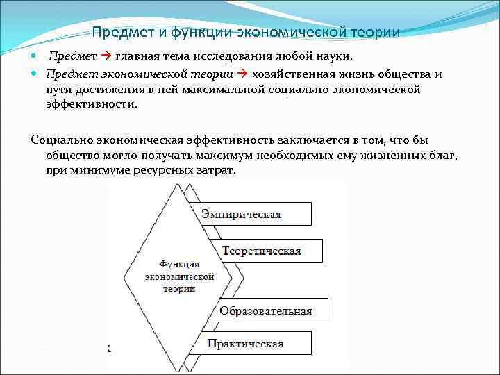 Предмет и функции экономической теории Предмет главная тема исследования любой науки. Предмет экономической теории