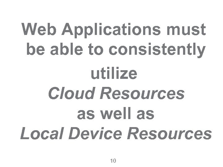 Web Applications must be able to consistently utilize Cloud Resources as well as Local