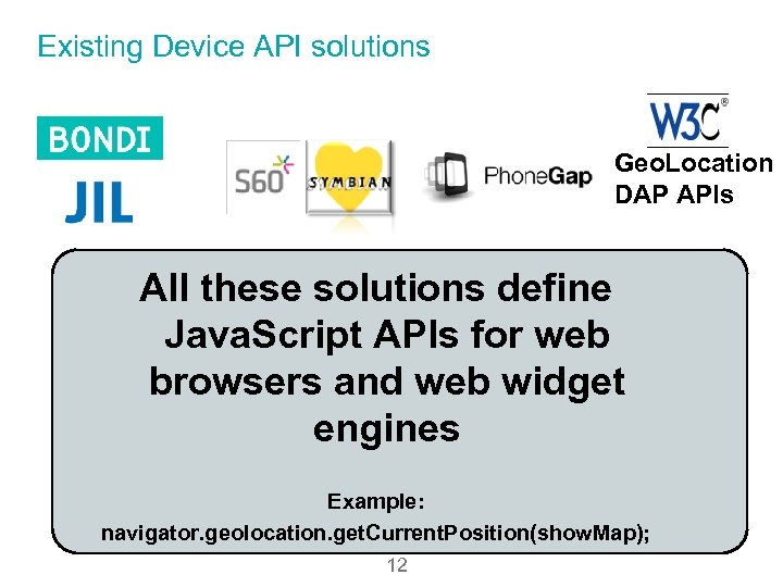 Existing Device API solutions Geo. Location DAP APIs All these solutions define Java. Script