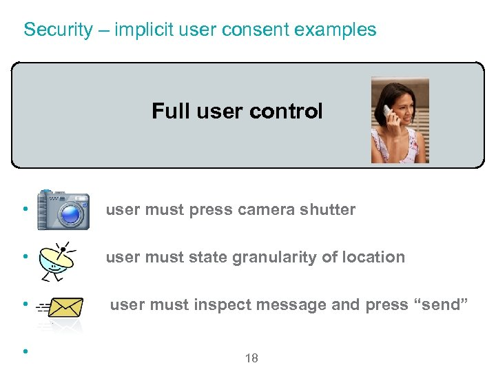 Security – implicit user consent examples Full user control • user must press camera