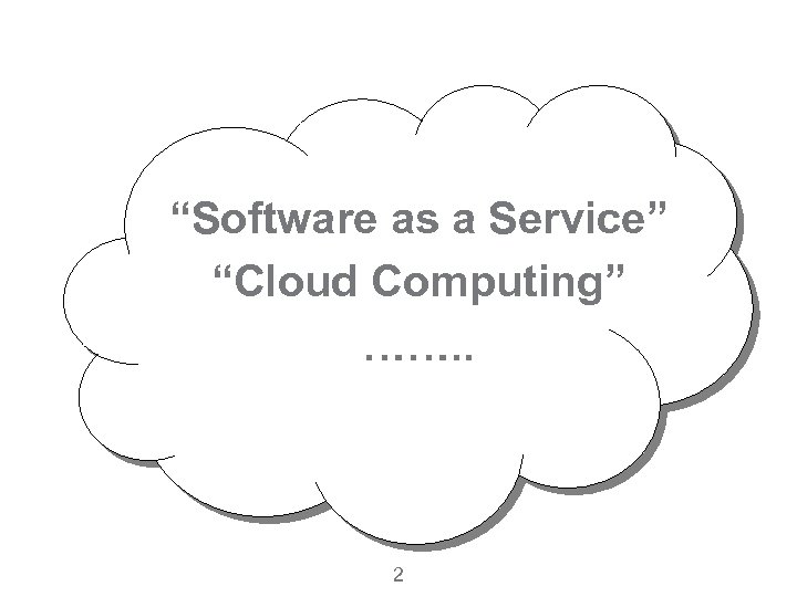 """""""Software as a Service"""" """"Cloud Computing"""" ……. . 2"""