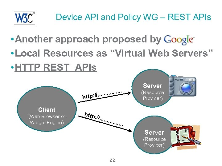 Device API and Policy WG – REST APIs • Another approach proposed by •
