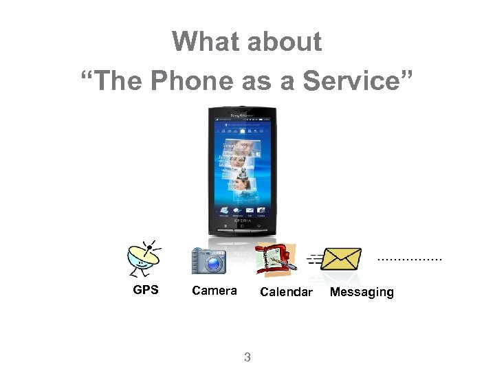 """What about """"The Phone as a Service"""" ……………. GPS Camera Calendar 3 Messaging"""
