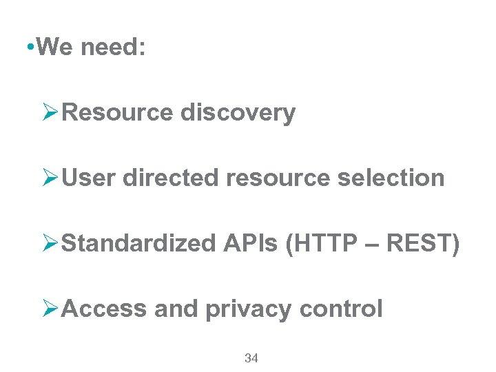• We need: ØResource discovery ØUser directed resource selection ØStandardized APIs (HTTP –