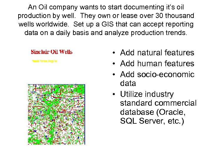 An Oil company wants to start documenting it's oil production by well. They own