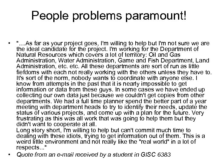 People problems paramount! •
