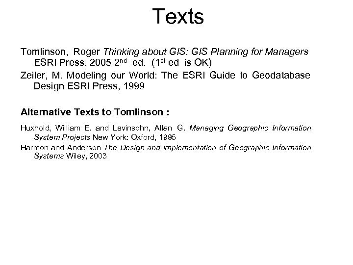 Texts Tomlinson, Roger Thinking about GIS: GIS Planning for Managers ESRI Press, 2005 2