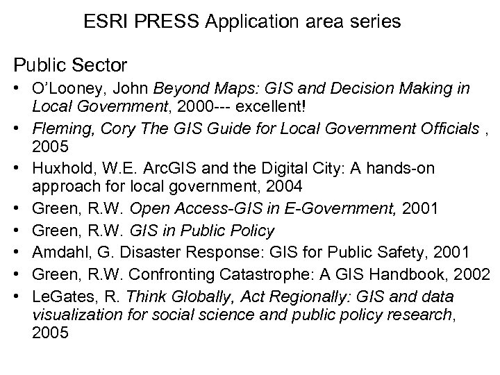 ESRI PRESS Application area series Public Sector • O'Looney, John Beyond Maps: GIS and