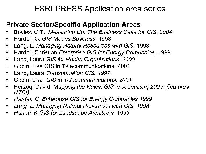 ESRI PRESS Application area series Private Sector/Specific Application Areas • • • Boyles, C.