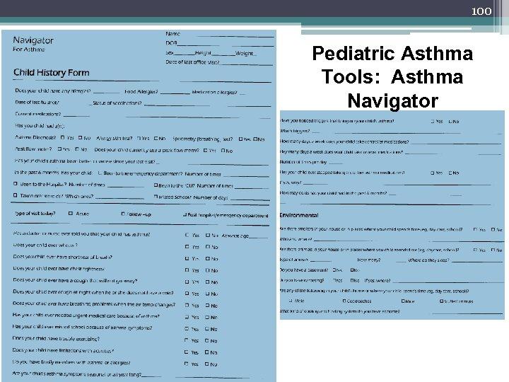 100 Pediatric Asthma Tools: Asthma Navigator