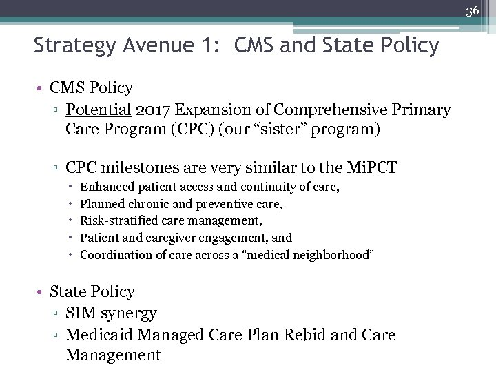 36 Strategy Avenue 1: CMS and State Policy • CMS Policy ▫ Potential 2017