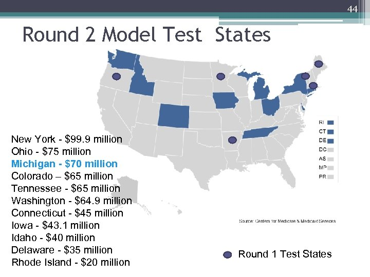 44 Round 2 Model Test States New York - $99. 9 million Ohio -