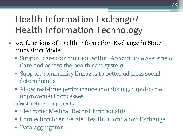 53 Health Information Exchange/ Health Information Technology • Key functions of Health Information Exchange