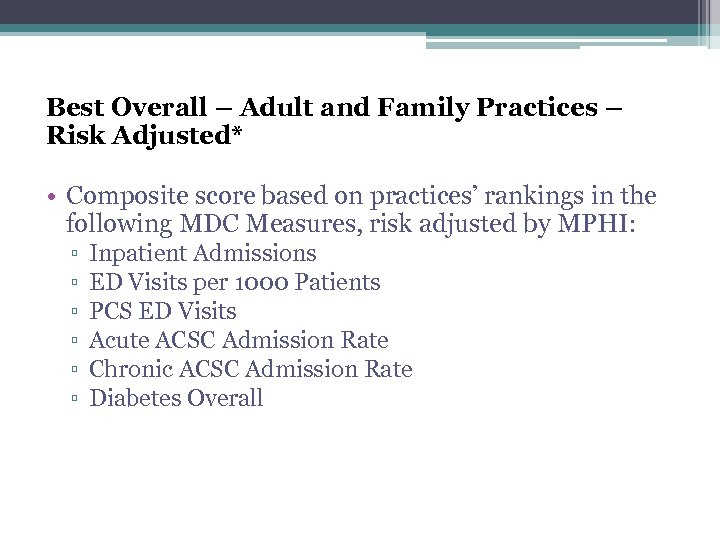 Best Overall – Adult and Family Practices – Risk Adjusted* • Composite score based