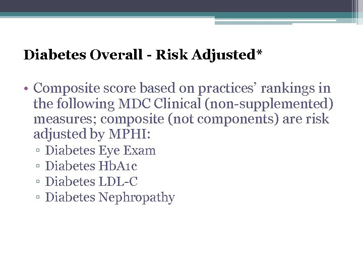 Diabetes Overall - Risk Adjusted* • Composite score based on practices' rankings in the
