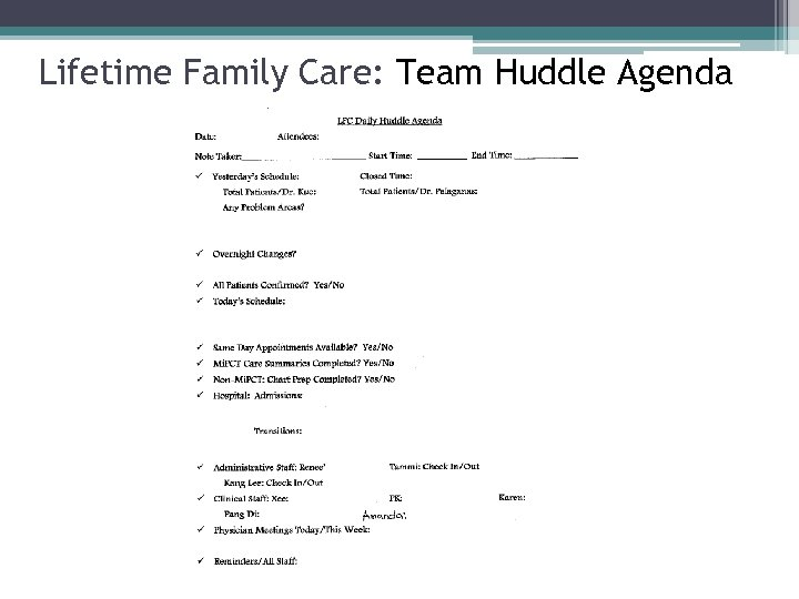 Lifetime Family Care: Team Huddle Agenda