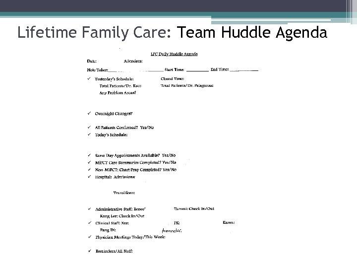 Lifetime Family Care: Team Huddle Agenda