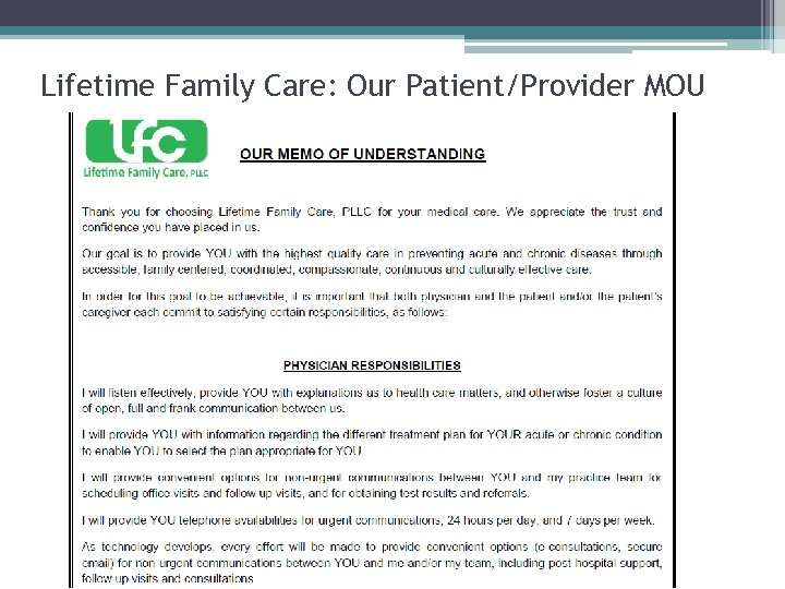 Lifetime Family Care: Our Patient/Provider MOU
