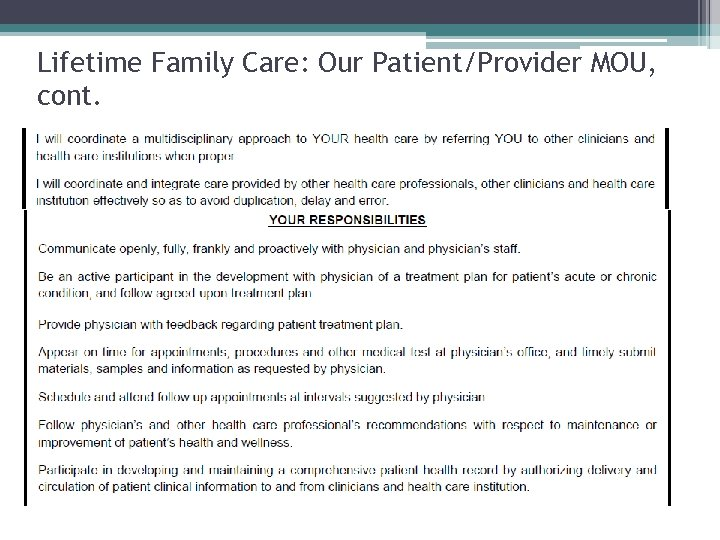 Lifetime Family Care: Our Patient/Provider MOU, cont.
