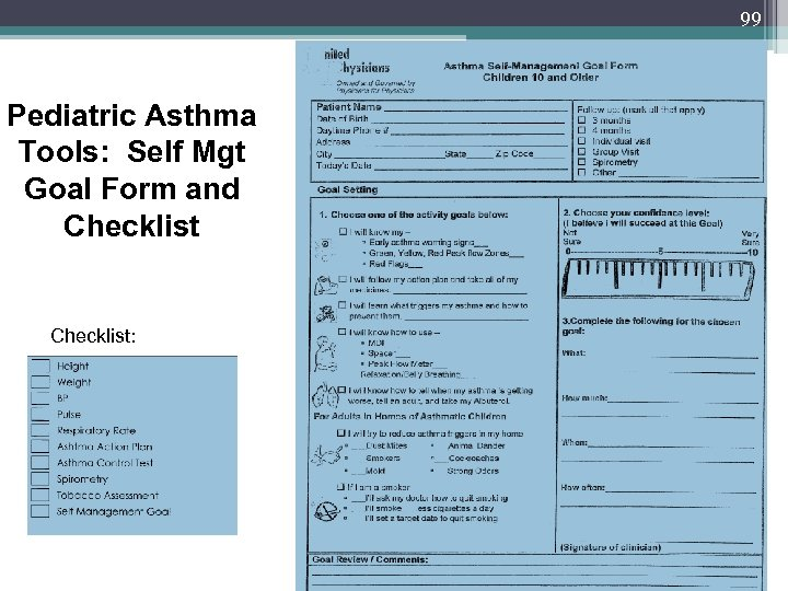 99 Pediatric Asthma Tools: Self Mgt Goal Form and Checklist: