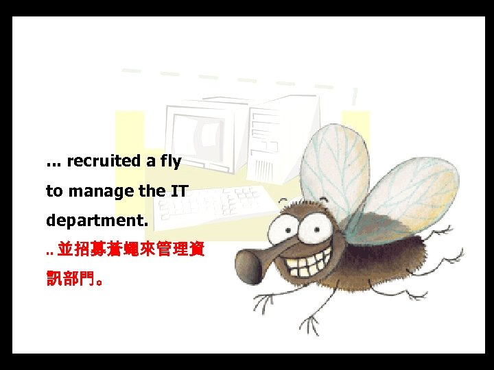 . . . recruited a fly to manage the IT department. . . 並招募蒼蠅來管理資