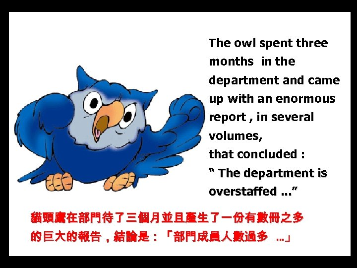 The owl spent three months in the department and came up with an enormous