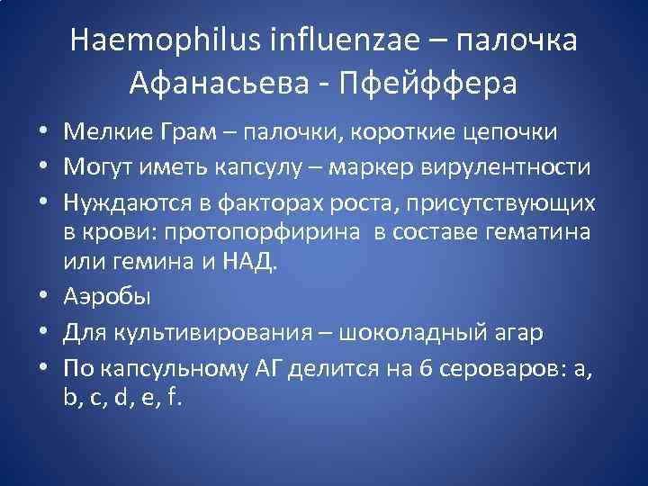 Haemophilus influenzae – палочка Афанасьева - Пфейффера • Мелкие Грам – палочки, короткие цепочки