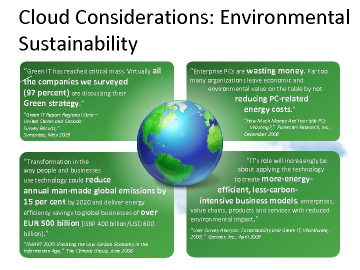 "Cloud Considerations: Environmental Sustainability ""Green IT has reached critical mass. Virtually all the companies"