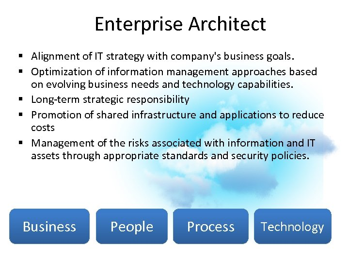 Enterprise Architect § Alignment of IT strategy with company's business goals. § Optimization of