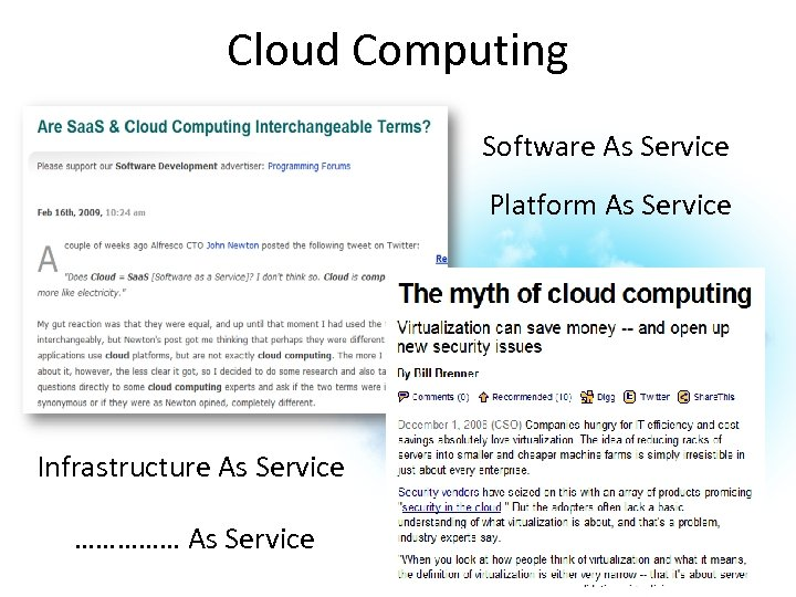 Cloud Computing Software As Service Platform As Service Infrastructure As Service …………… As Service