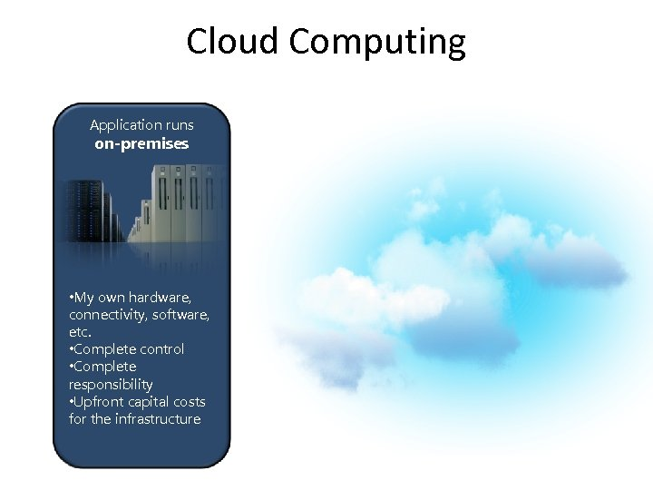 Cloud Computing Application runs on-premises • My own hardware, connectivity, software, etc. • Complete
