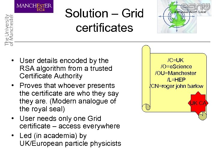 Solution – Grid certificates • User details encoded by the RSA algorithm from a