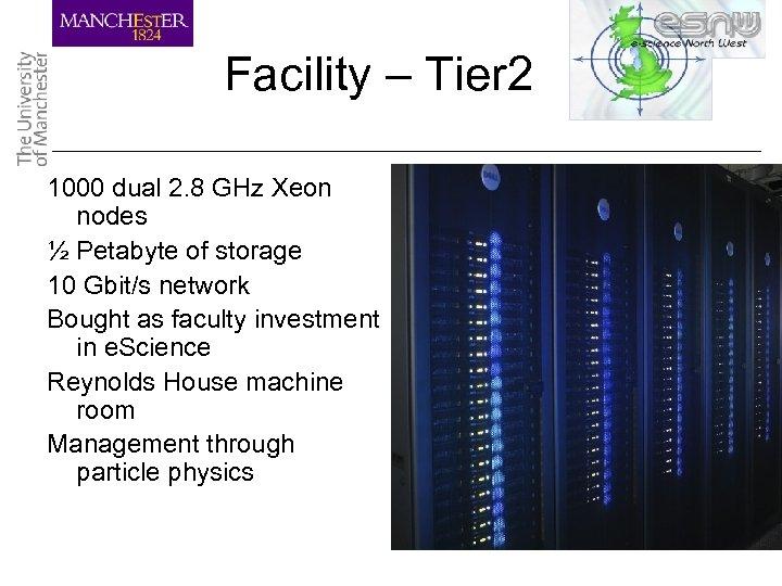 Facility – Tier 2 1000 dual 2. 8 GHz Xeon nodes ½ Petabyte of