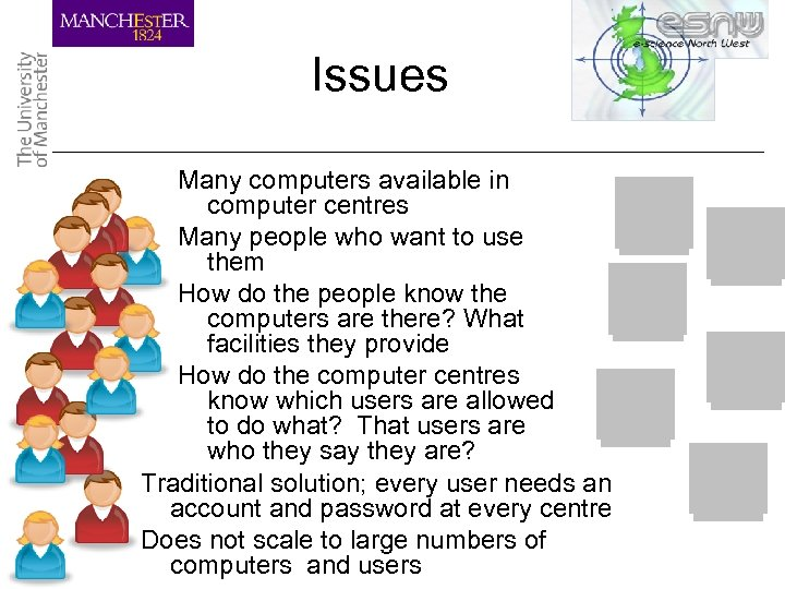 Issues Many computers available in computer centres Many people who want to use them