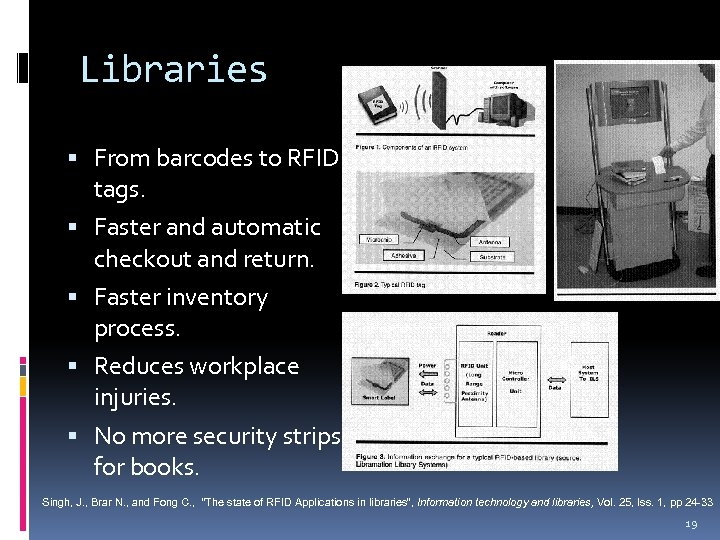 Libraries From barcodes to RFID tags. Faster and automatic checkout and return. Faster inventory